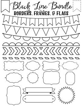FREE Clip art Bundles - Black Line Borders Frames and Flags