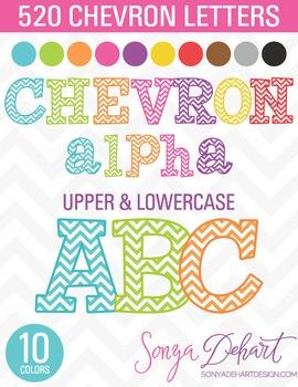 Clip Art Chevron Alphabet 520 Pieces