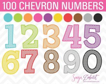 Clip Art: Chevron Numbers 100 Pieces