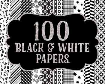 Bundles -Digital Papers Pack 100 Black and White Patterns FREEBIE
