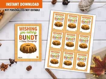 Bundt Gift Tags, Happy Thanksgiving Favor Tag