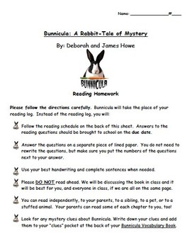 Bunnicula Reading Questions and Comprehension Packet, Complete Novel Guide