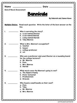 Bunnicula  Assessment:  End of Novel