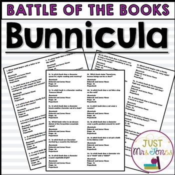 Bunnicula Battle of the Books Trivia Questions