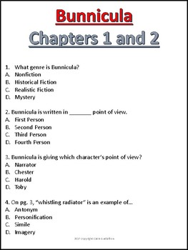 Bunnicula Chapter 1 and 2 Comprehension Questions