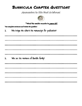 "Bunnicula Chapter Questions- Citing TEXT EVIDENCE ""COOKIE CRUMBS"""