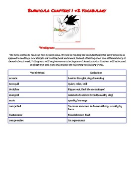 Bunnicula Chapters 1 and 2 Vocabulary Test WITH STUDY GUIDE