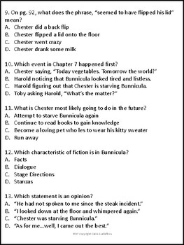 Bunnicula Chapters 7, 8, and 9 Comprehension Questions