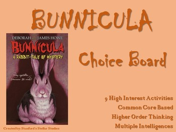 Bunnicula Choice Board Tic Tac Toe Novel Activities Menu Assessment Project