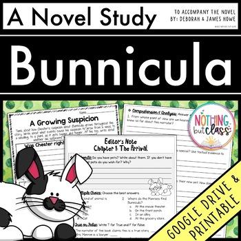 Bunnicula Novel Study Unit: comprehension, vocabulary, act