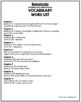 Bunnicula Vocabulary Word List