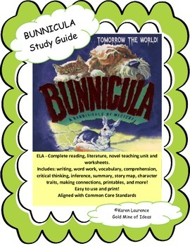 Bunnicula by Deborah and James Howe ELA Reading Study Guide Complete!