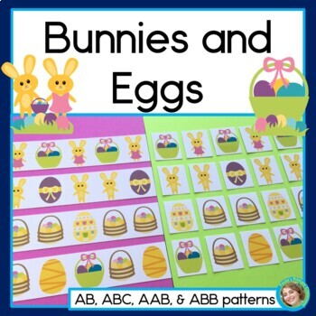 Bunnies And Eggs, Easter Pattern Math Center with AB, ABC, AAB & ABB patterns
