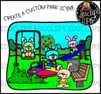 Bunnies At The Park Clip Art Bundle {Educlips Clipart}