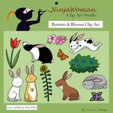 Bunnies & Blooms Clip Art
