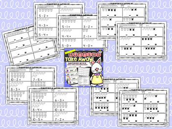 Bunnies Bundle Addition and Subtraction up to 10 ~Perfect for Mini-Erasers!~