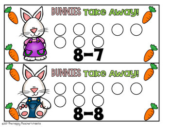 Bunnies Take Away! Subtraction up to 10 ~Perfect for Mini-Erasers!~