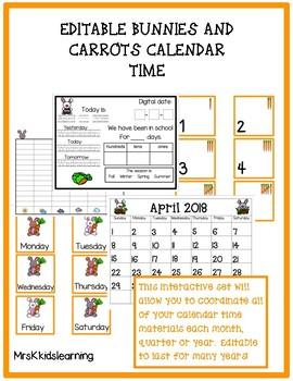 Bunnies and Carrots Editable Calendar Time