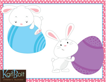 Bunnies and Eggs Easter Clip Art
