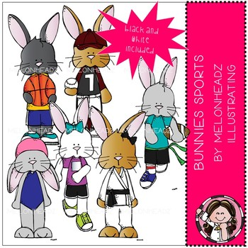 Bunnies clip art - Sports - Mini - Melonheadz Clipart
