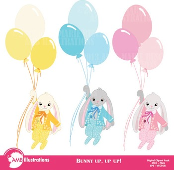 Easter Clipart, Bunnies flying high with balloons clipart AMB-551