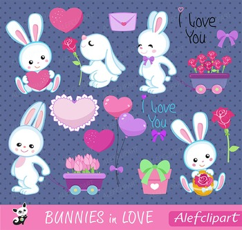 Bunnies in love - Digital Clipart Set, Bunnies Clipart, Valentine Clipart,