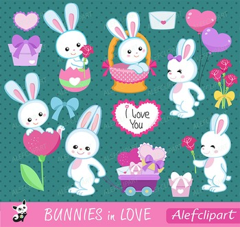 Bunnies in love - Digital Clipart Set, Bunnies Clipart, Va