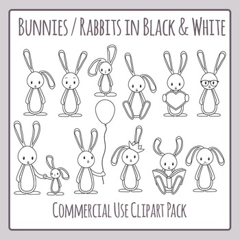 Bunnies or Rabbits Black and White Line Art Commercial Use Clip Art Set