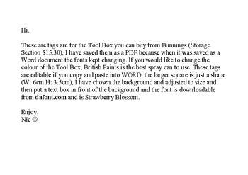 Bunnings Tool Box Tags