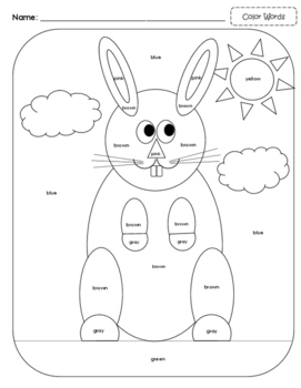 Bunny Color By: Sight Words, Number Words or Color Words