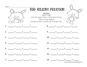 Bunny 3 addend Worksheet- FREEBIE