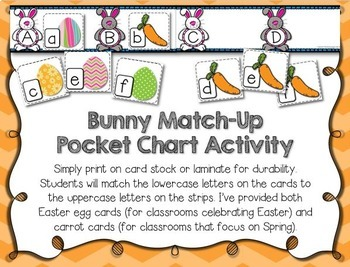 Bunny ABC Letter Matching - Letter Matching Clip Cards & Pocket Chart for Easter