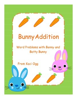 Bunny Addition Word Problem Math Center with 10 frames