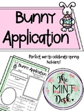 Bunny Application for Spring or Easter Holiday!