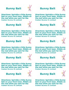 Bunny Bait Labels with Directions