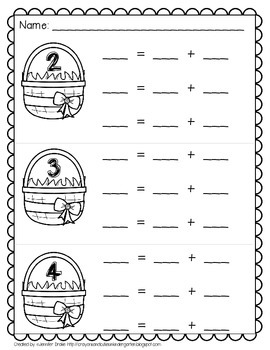 Bunny Basket Composing & Decomposing Numbers 2-10; Center & Printables