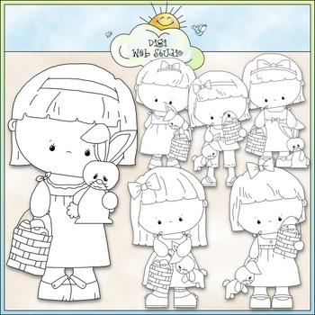 Bunny & Basket Girls Clip Art - Easter Clip Art - Easter Bunny -CU ClipArt & B&W