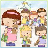 Bunny & Basket Girls Clip Art - Easter Clip Art - Easter B