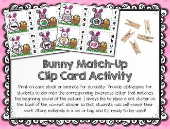 Easter Beginning Sounds - Easter Bunny Letter Matching Clip Cards & Pocket Chart