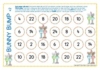 Easter Bunny Bump Multiplication Skip Counting by Twos