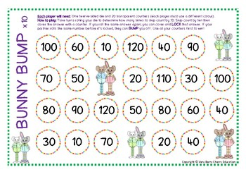 Bunny Bump Multiplication Skip Counting by Tens