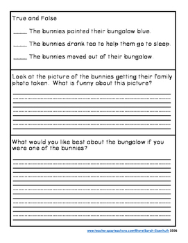 Bunny Bungalow Comprehension Quiz