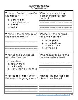 Bunny Bungalow Comprehension Quiz