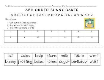 Bunny Cakes ABC Order