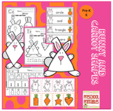 Bunny Carrot Shapes Printable