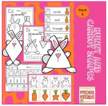 Bunny Carrot Shapes Printable