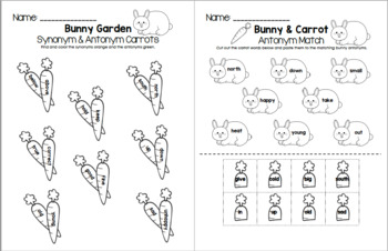 Bunny & Carrot - Synonym and Antonym Grammar Pack
