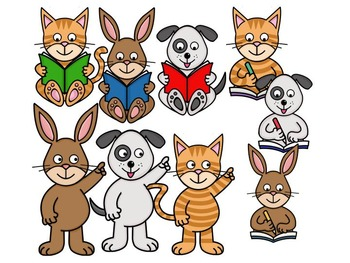 Clip Art PNGs - Pet Animals - Bunny Rabbit, Cat, Dog - Reading/Pointing/Writing.