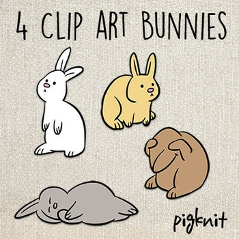 Bunny Clip Art -- 4 Cute Bunny Rabbits in 4 Simple Poses | Spring | Easter