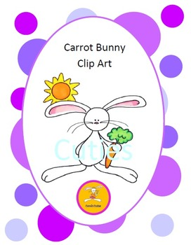 Bunny Clip Art - Carrot in full color and black line